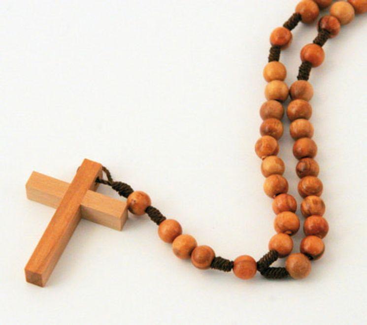Lot de 12 - Chapelet sur corde, perle en olivier ronde de 6mm