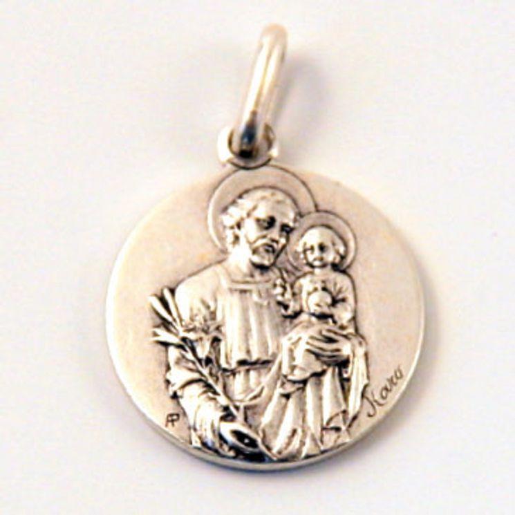 Médaille St Joseph, finition Vieil Argent en laiton argenté 18 mm, Pack de 25