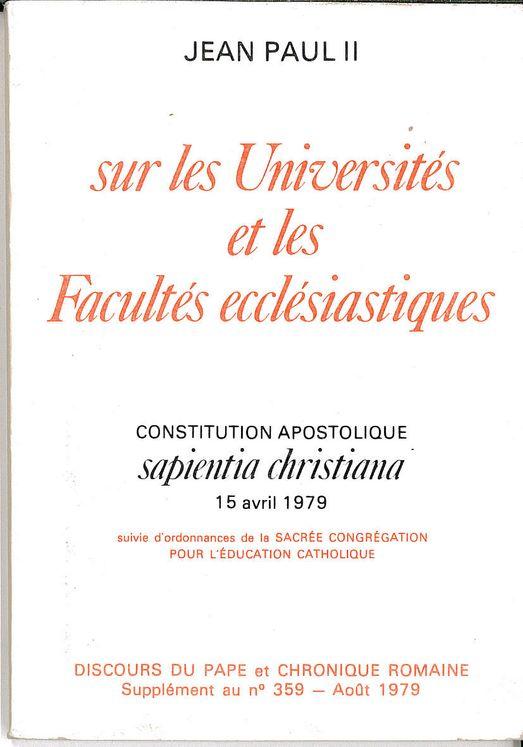 Sur les Universités et les Facultés écclésistiques - Sapientia christiana