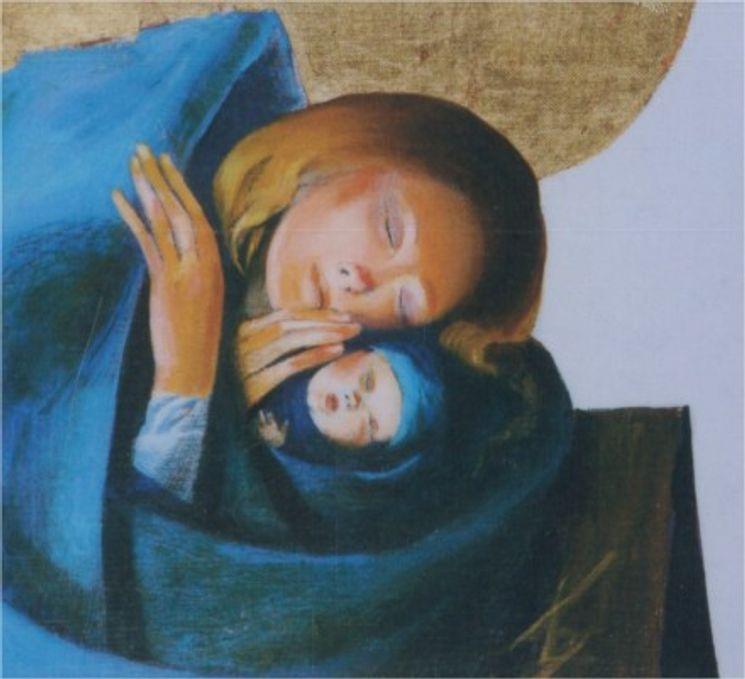 Icône collée Vierge à l´enfant Arcabas - 10 x 13 cm