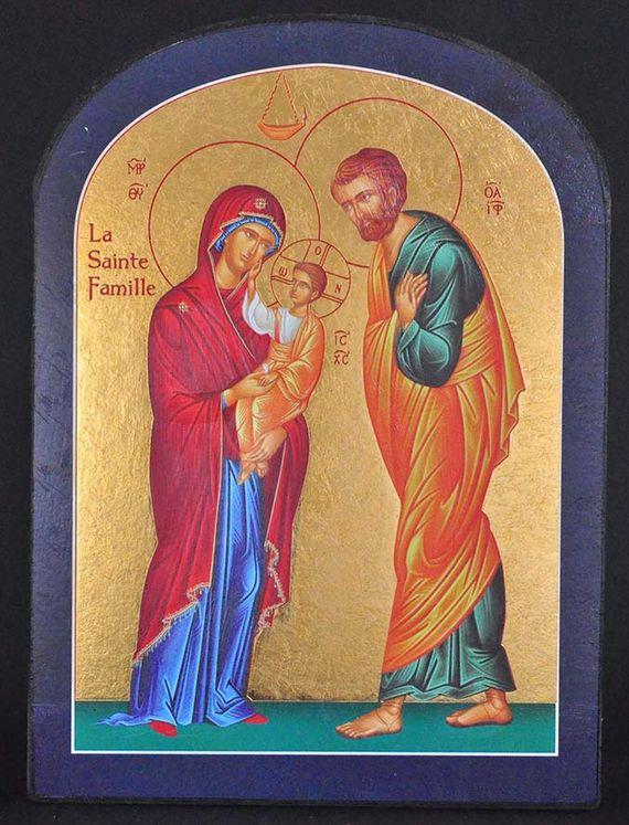 Icône qualité Or La Sainte Famille Tour bleu (sommet arrondi) 14 x 19 cm