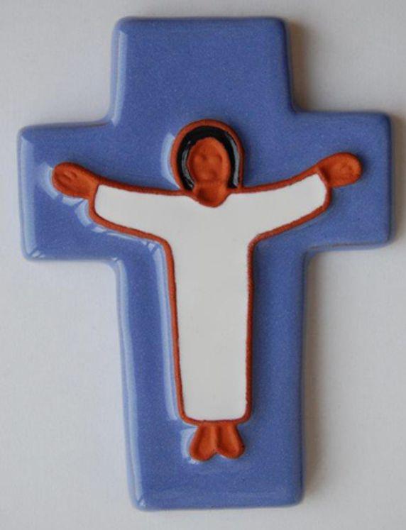Croix céramique Jésus 10 x 12 cm Coloris bleu