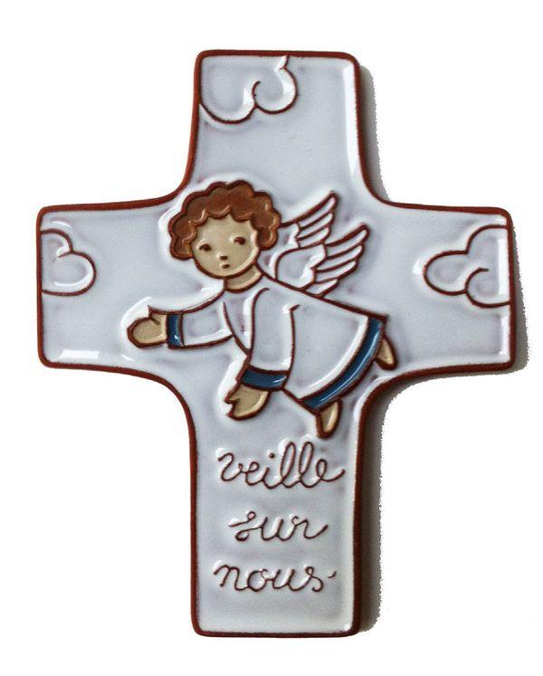 """Croix céramique Ange Gardien """" Veille sur nous"""" Coloris blanc"""