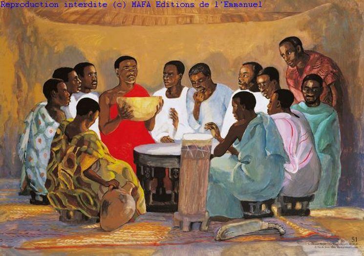 Le Dernier Repas  (Mt 26,26), Carte double Vie de Jésus Mafa