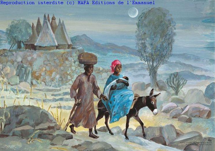 La Fuite en Egypte  (Mt 2,13), Carte simple Vie de Jésus Mafa