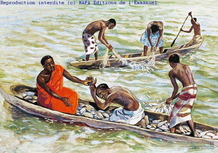 La Pêche Miraculeuse  (Lc 7,35), Carte simple Vie de Jésus Mafa