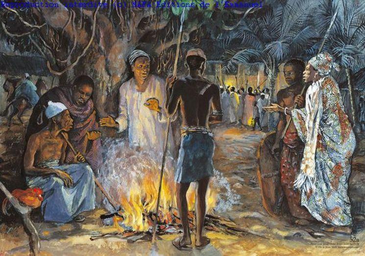Pierre renie Jésus  (Lc 22,55), Carte simple Vie de Jésus Mafa