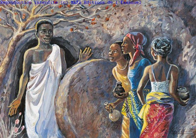 Le Tombeau Vide  (Mt 28,1), Carte simple Vie de Jésus Mafa