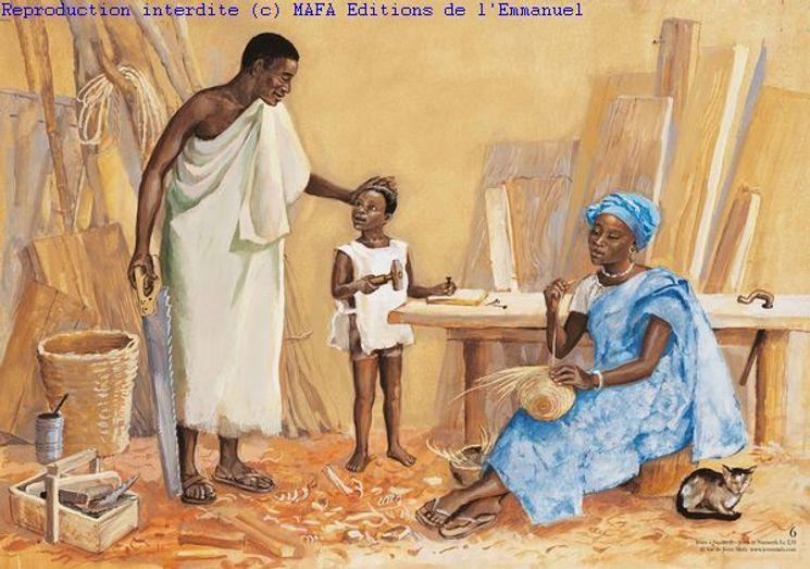 Jésus à Nazareth  (Lc 2,51), Carte pliée Vie de Jésus Mafa