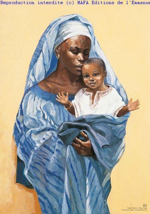Vierge Africaine, Carte pliée Vie de Jésus Mafa