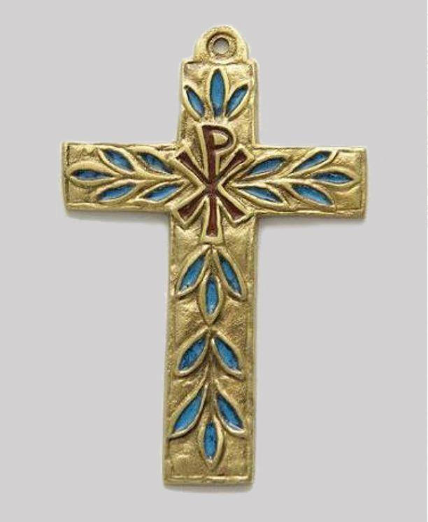 Croix en bronze émaillé Chrisme et feuillage