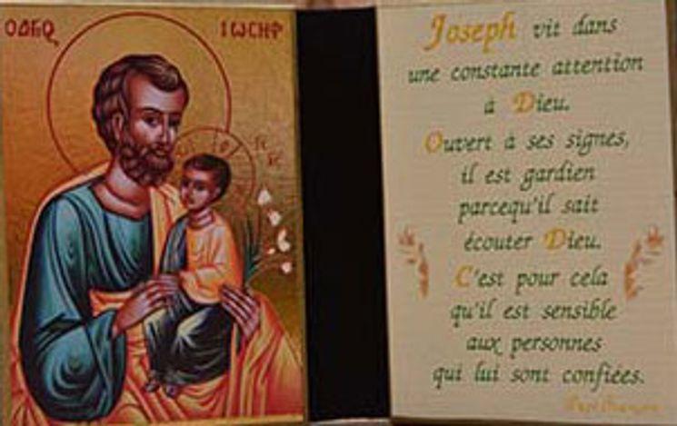 Diptyque de voyage St Joseph à l´Enfant-Jésus 7 x 12 cm