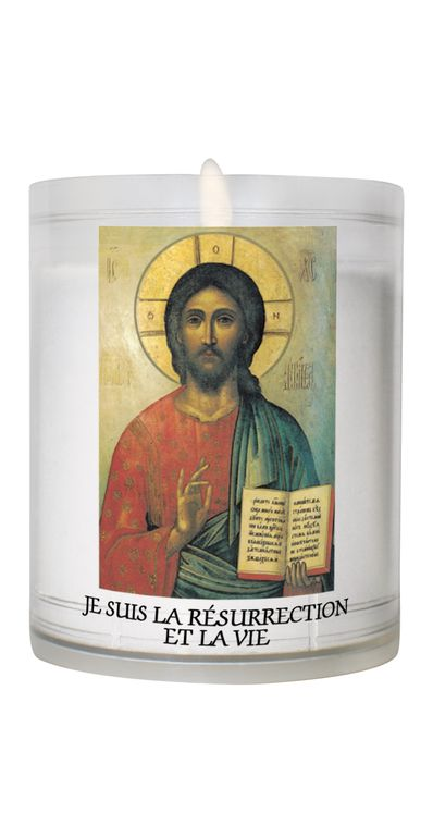 Veilleuse Blanche - moyen modèle cylindrique - Christ Pentocrator