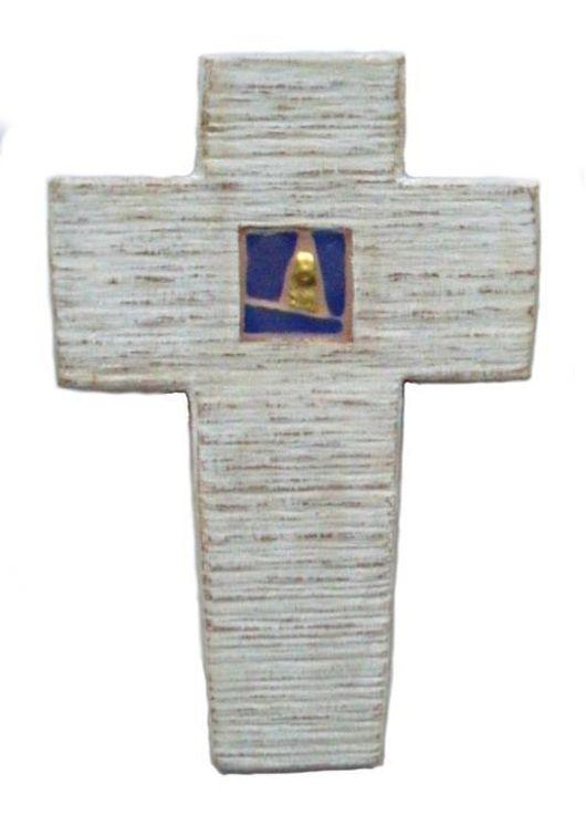 Croix coeur bleu et or 6.5 x 10 cm Vincent Kressmann