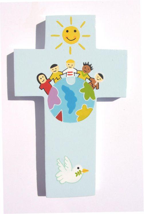 Croix petit format Enfants du monde bleu ciel Réf 101
