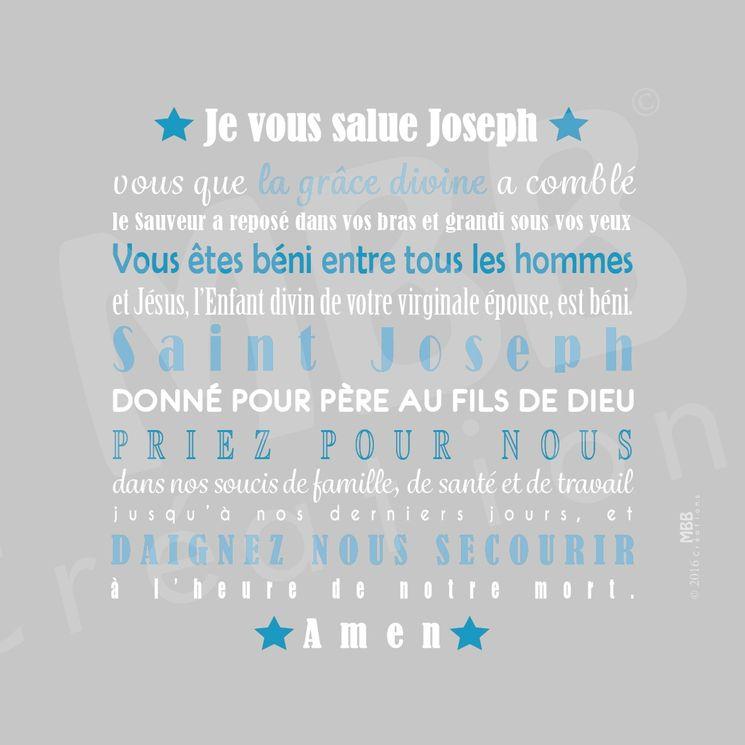 """Toile prière Gris/Bleu turquoise """"Je vous salue Joseph"""" - Format 20 x 20"""