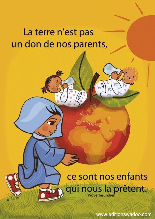 """Carte Moinette  """"La terre n´est pas un don de nos parents"""""""