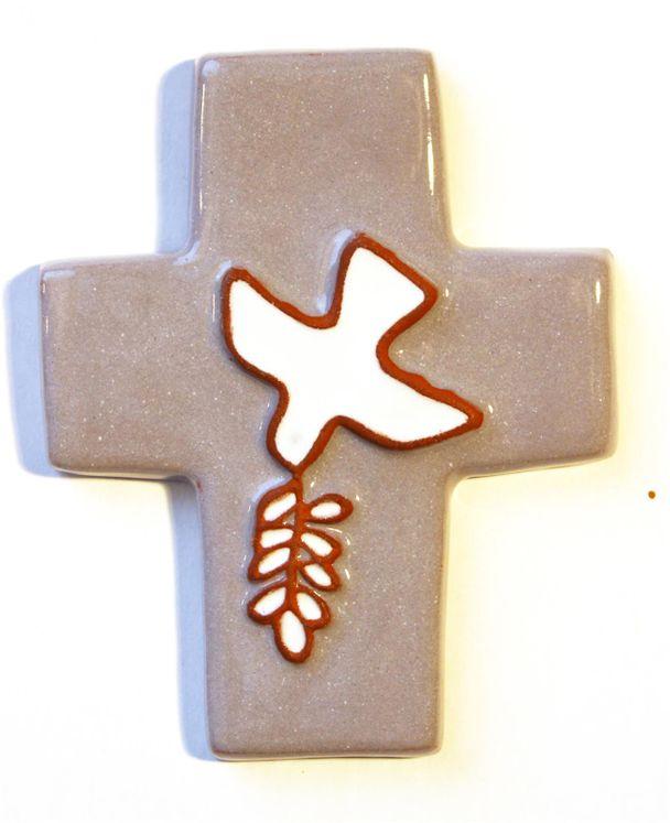 Croix céramique Coloris gris Colombe et rameau 8,5 x 10,5 cm