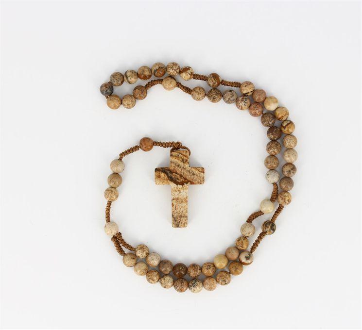 Chapelet Perles imitation Jaspe 28,5cm
