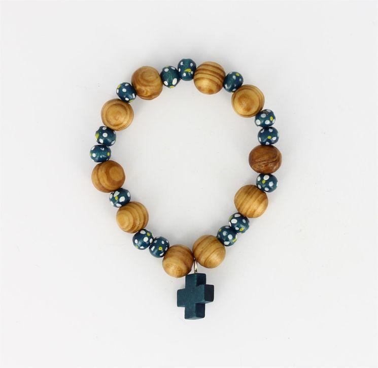 Dizainier Bois sur ruban élastique Bleu - Diam 6 cm