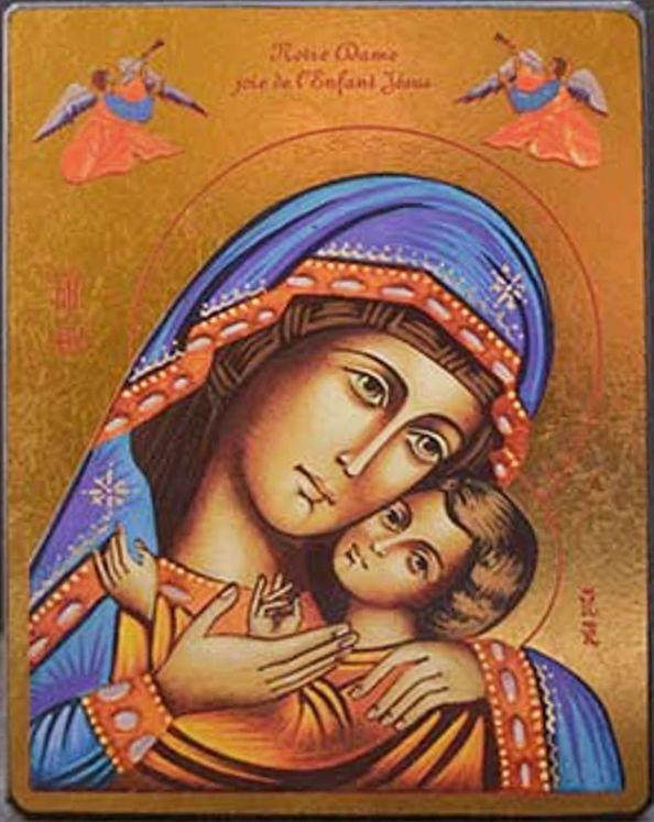 Icône qualité Or Notre-Dame Joie de l´Enfant Jésus  11,8 x 15,5 cm