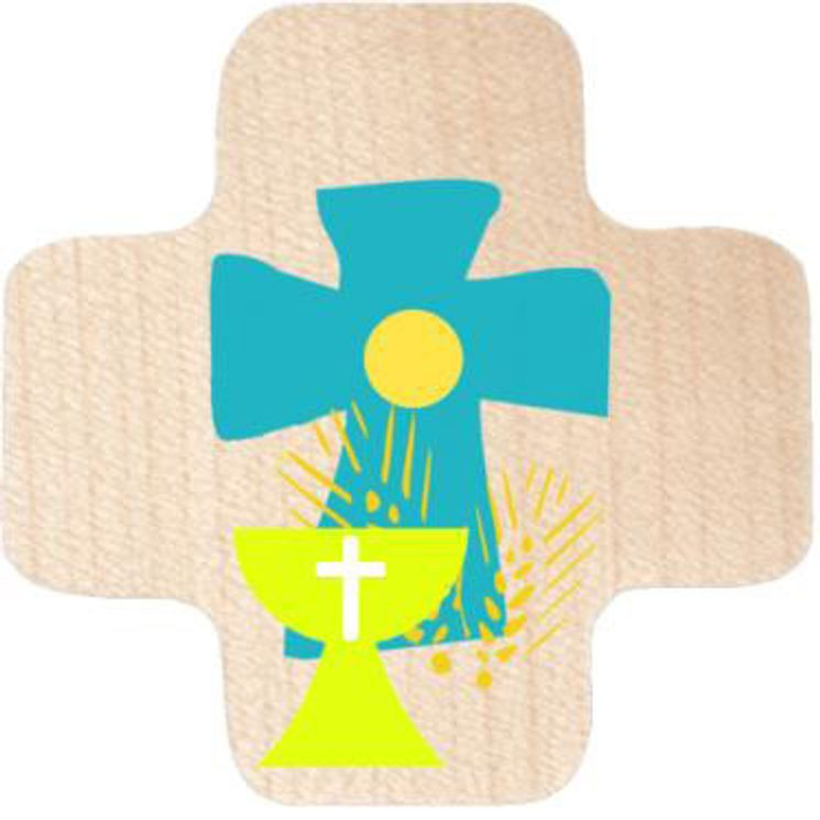 Croix en érable imprimée croix bleue et calice