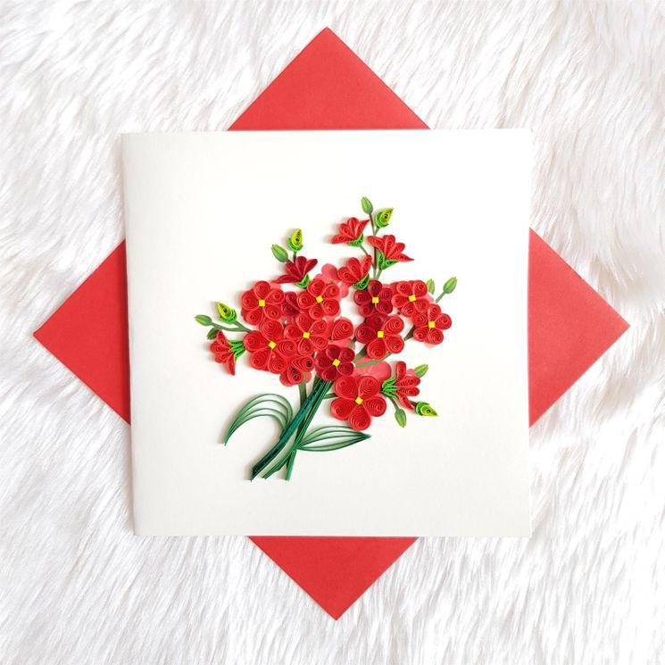 Carte bouquet de fleurs rouge en Quilling avec enveloppe
