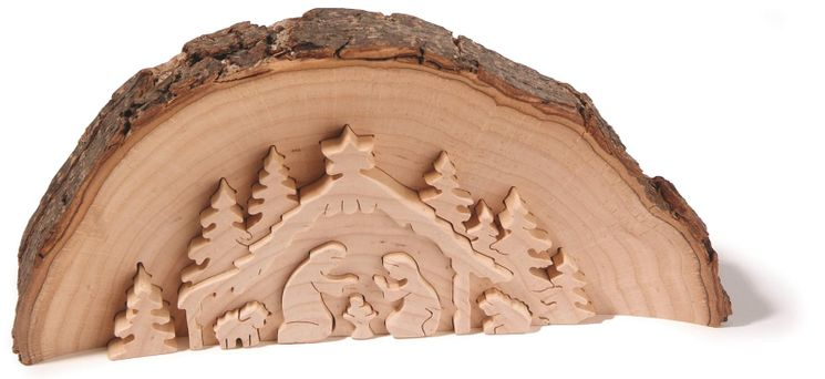 Créche en bois Naturel demie-dosse 14.5 cm