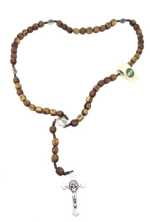Chapelet en bois d´Olivier gros grains. Croix et Médaille de saint Benoît