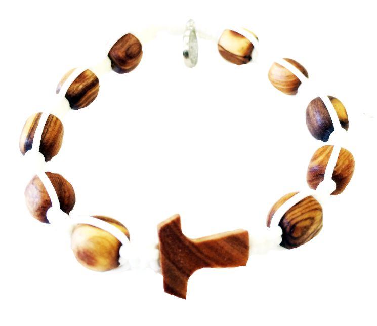 Bracelet Dizainier macramé et perle de bois d´olivier croix Tau