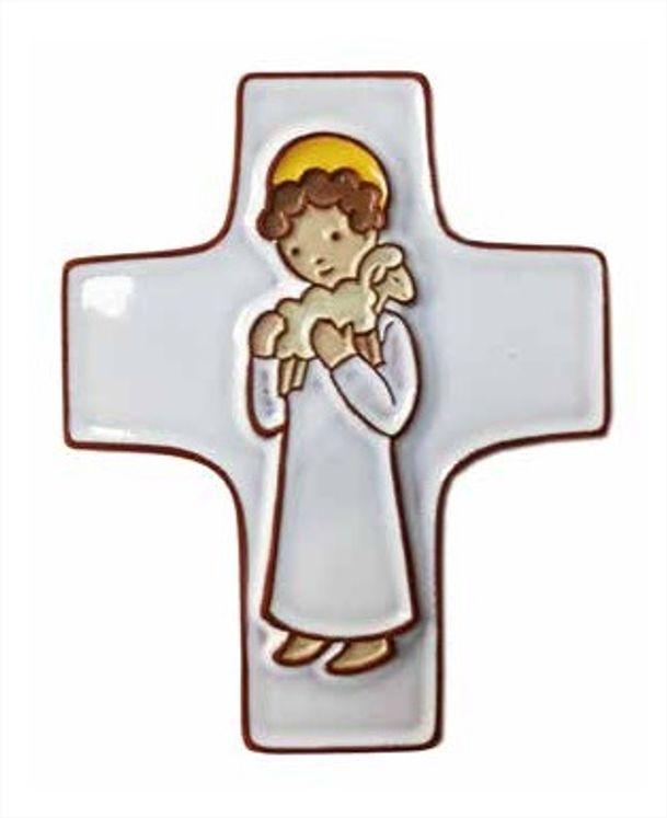 Croix céramique  Jésus Bon berger blanc - fond blanc