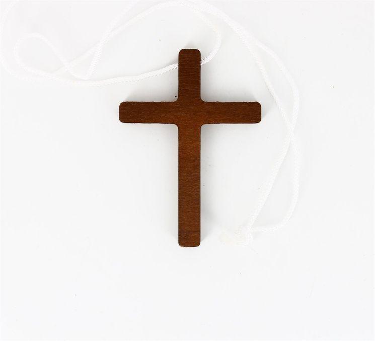 Croix d´aube en hêtre teinté 10 x 7 cm