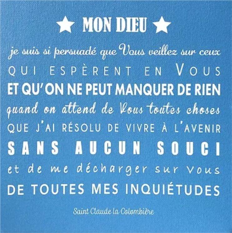 """Toile prière  Bleu acier  """"La confiance de St Claude la colombière"""" - Format 20 x 20"""